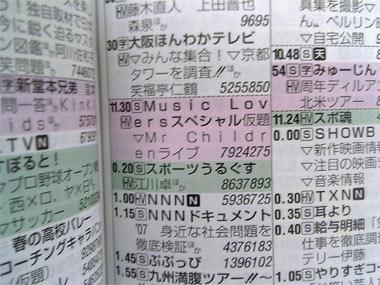 Music Loversスペシャル Mr.Childrenライブ