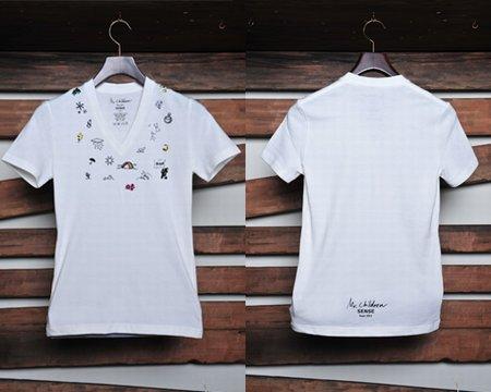"""刺繍 Vネック Tシャツ Mr.Children Tour 2011 """"SENSE"""" オフィシャルグッズ"""