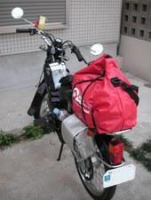 バイクが小さいので、2泊3日分でも大荷物に見えちゃうな〜