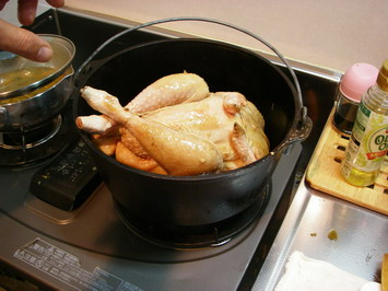 ダッジオーブンで焦げをつけて