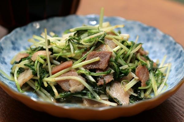 2014-02-06水菜とベーコンのさっと炒め.JPG