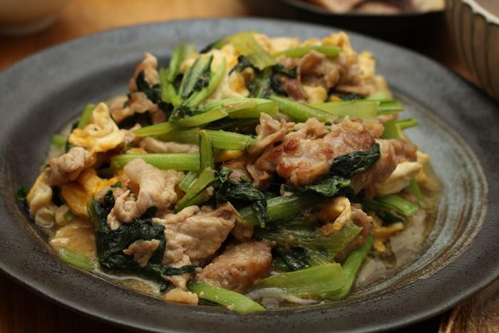 2016-10-21豚と小松菜の卵とじ.JPG