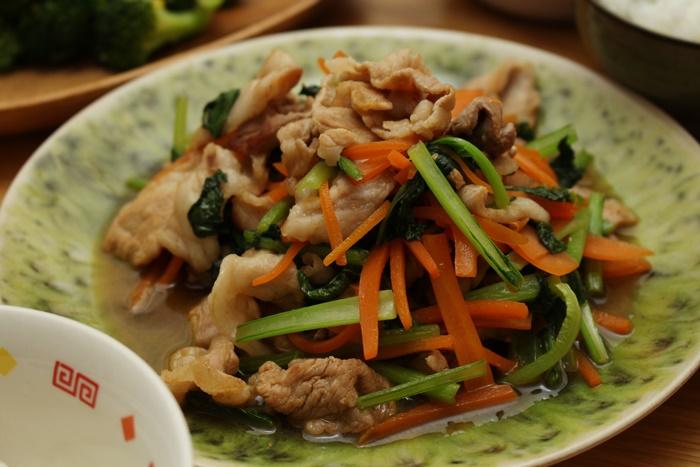2016-10-25豚と小松菜の麺つゆ炒め.JPG