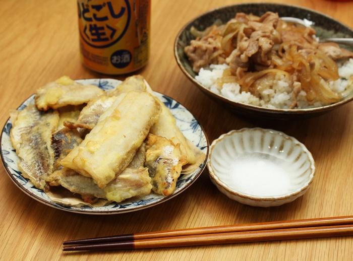 2016-10-30太刀魚と鯵の天ぷら 豚丼.JPG