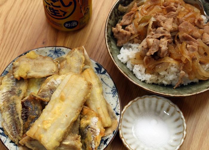 2016-10-30太刀魚と鯵の天ぷら 豚丼2.JPG