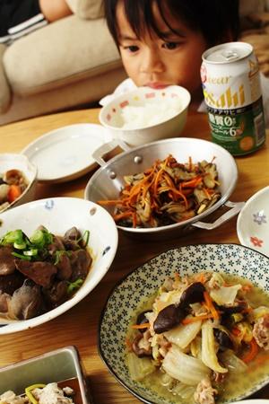 2016-11-16鶏レバーの味噌煮込み 筑前煮 舞茸と人参のソテー 八宝菜 湯豆腐4.JPG