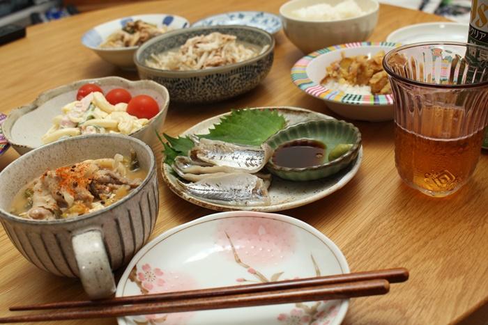 2016-11-20鯵の酢漬け マカロニサラダ かき揚げ丼 豚汁 やみつきもやし2.JPG