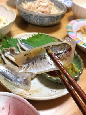 2016-11-20鯵の酢漬けをわさび醤油で.JPG