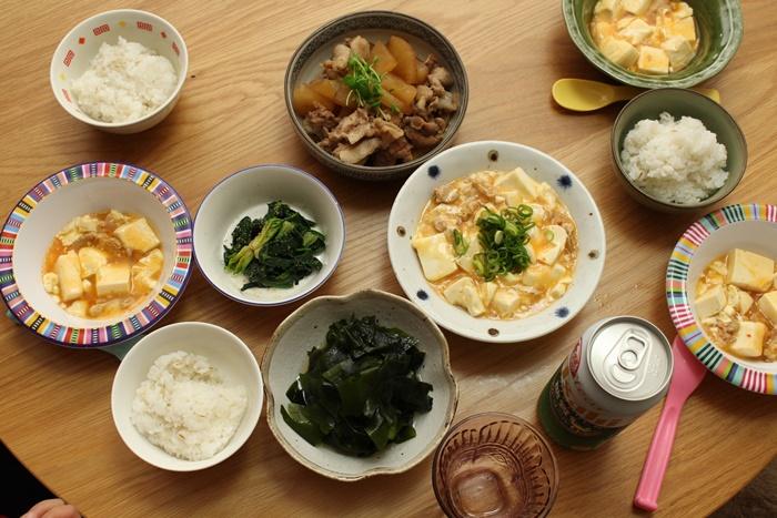 2016-11-21麻婆豆腐 豚大根 酢わかめ ほうれん草のナムル.JPG