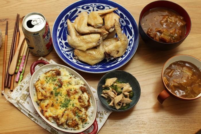 2016-11-27手羽先の塩焼き カレードリア 鶏ときゅうりの中華和え カレーうどん.JPG