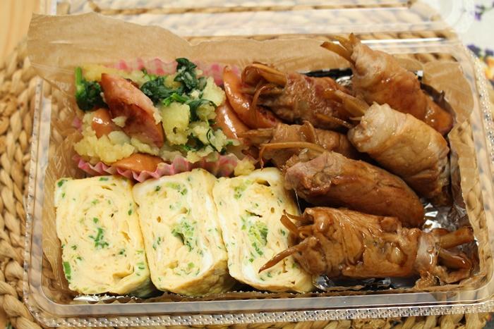 2016-12-07きんぴらごぼうの豚巻き照り焼き ねぎの卵焼き ウインナー入りポテトサラダ.JPG