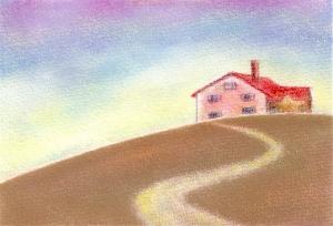 秋・赤い屋根の家