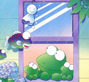梅雨 かえる イラスト