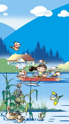 水辺の鳥とボート