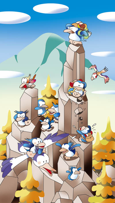 ペンギン ロッククライミング