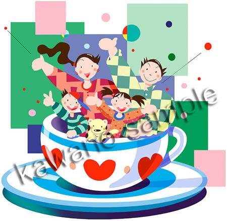 コーヒーカップ 遊園地 イラスト