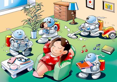 家事ロボット 間違い探しイラスト