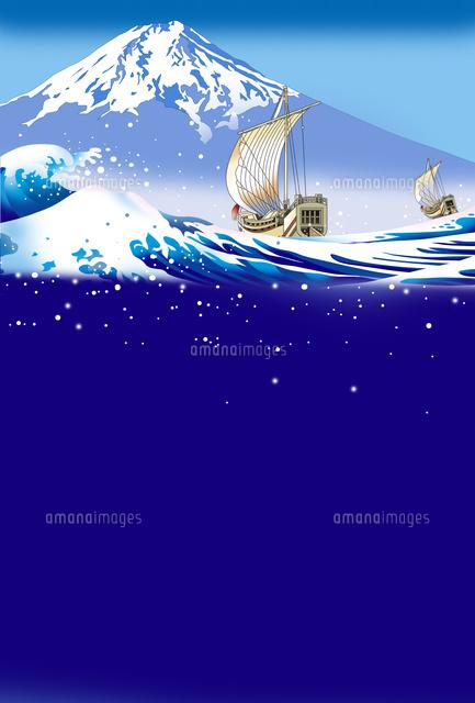 富士山 和風イラスト 江戸 和船 浮世絵イラスト