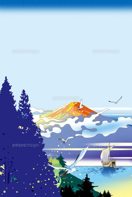 和風風景 浮世絵 イラスト カレンダーイラスト 富士山
