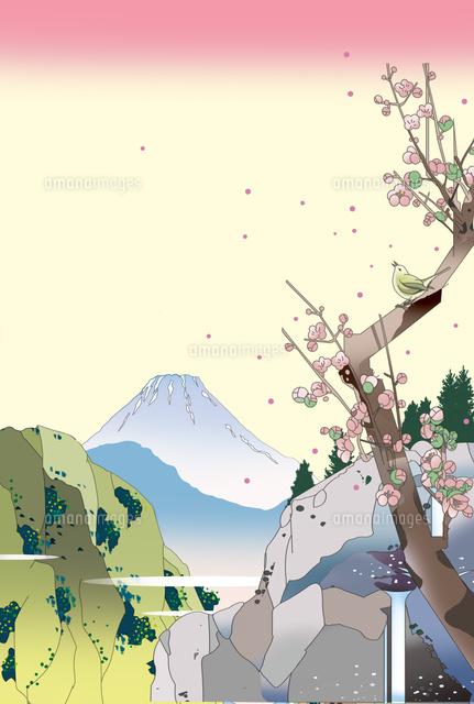 梅 初春 富士山 風景画 和風 浮世絵 イラスト