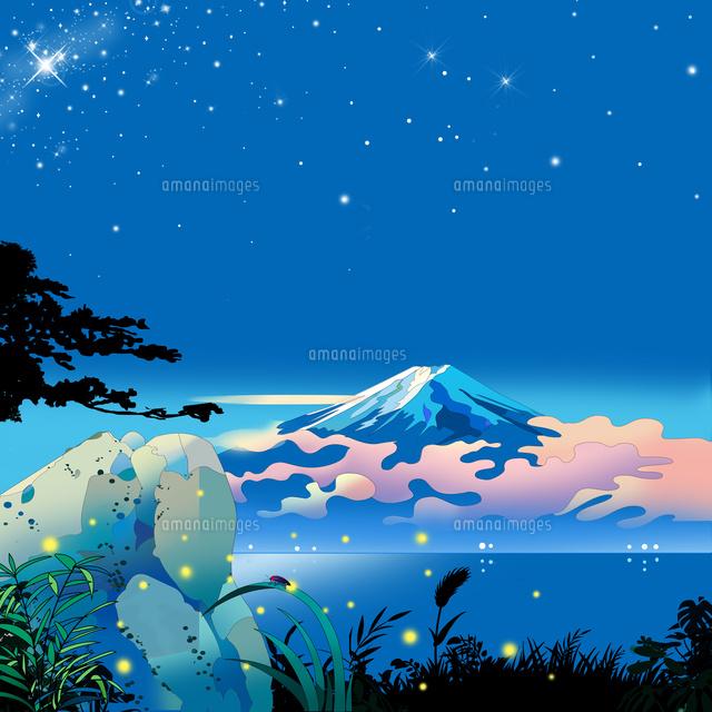 富士山 和風 風景画 蛍