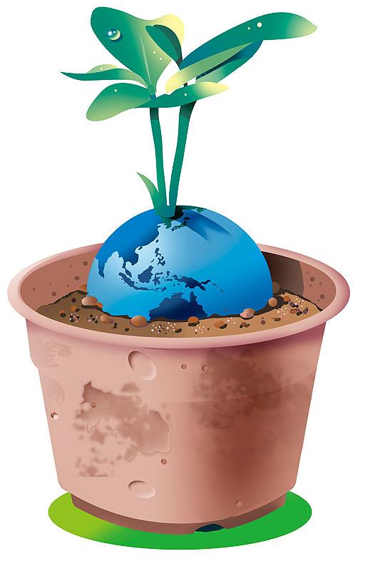 ラスト 画像 素材 エコ 地球 環境 自然 植樹 育成 植木鉢 緑 環境問題 エコプロダクツ エコライフ