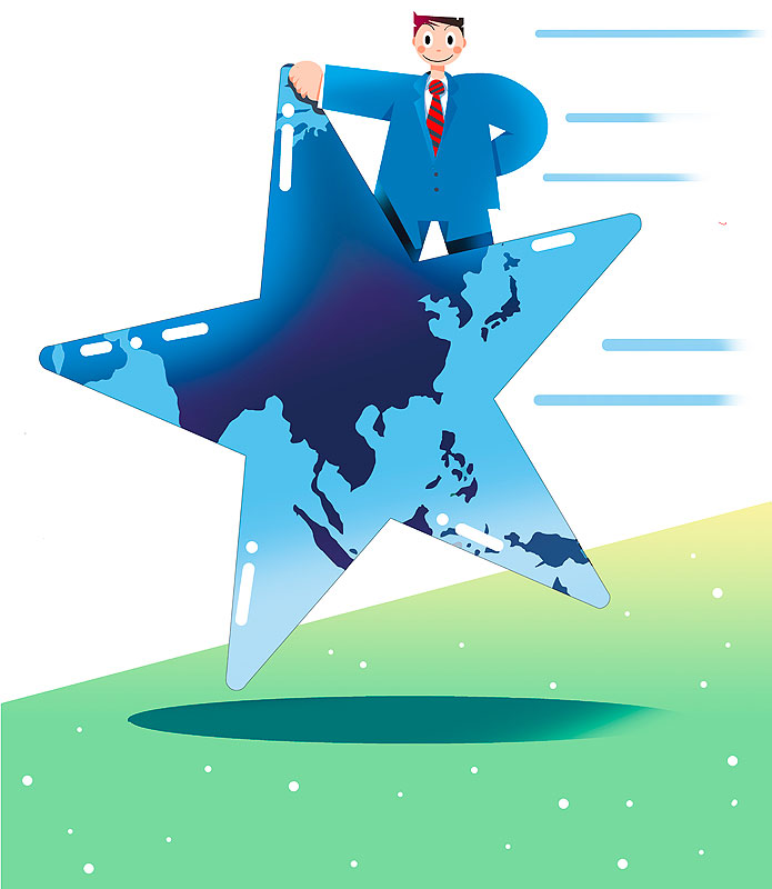 イラスト 画像 素材 ビジネス 仕事 ワールドワイド スーツ 会社 企業 サラリーマン キャリア 会社員 男性 世界 海外 出張 転勤 星