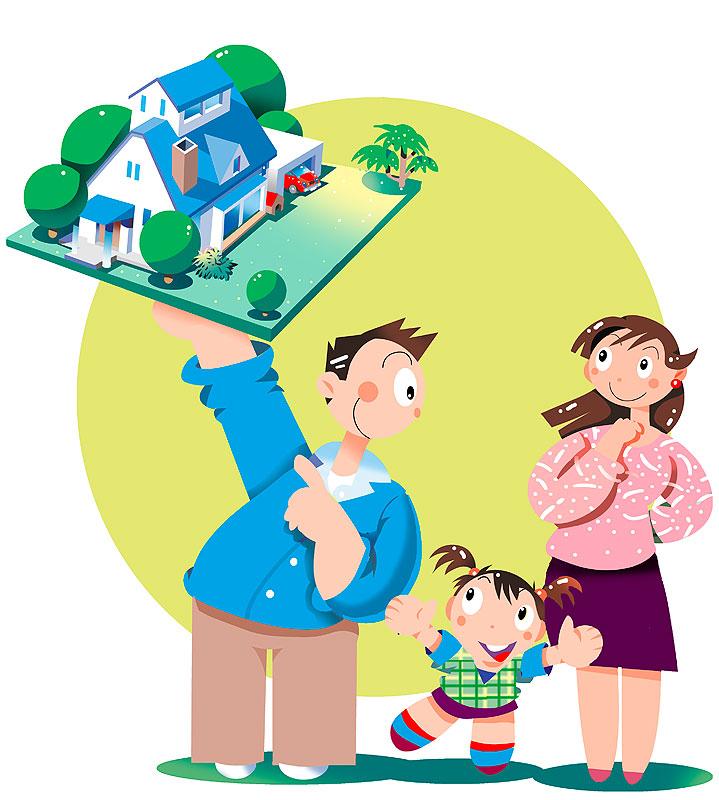 イラスト 画像 素材 家族 ファミリー マイホーム 設計 プラン 将来設計 新築 物件 子供 我が家 構想
