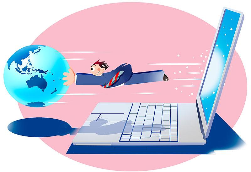 イラスト 画像 素材 ビジネス 仕事 パソコン インターネット 速度 速い 回線 職業 会社 地球 ネットワーク 世界 ノートパソコン ビジネスマン 会社員 男性