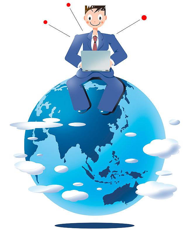 イラスト 画像 素材 ビジネス 仕事 会社員 サラリーマン 地球 世界 ワールドワイド 海外 パソコン ノートパソコン インターネット 男性 ビジネスマン キャリア