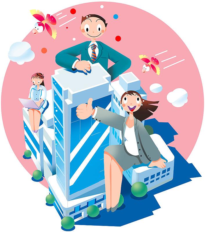 イラスト 画像 素材 ビジネス 仕事 会社 オフィス 勤務 会社員 サラリーマン OL 労働 働く 職業 求職 転職 ビジネスマン 男性 女性 オフィスビル