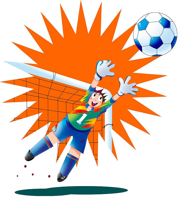 イラスト 画像 素材 サッカー ゴール ゴールキーパー サッカーボール 防止 防御 ディフェンス ブロック スポーツ ストップ 守備