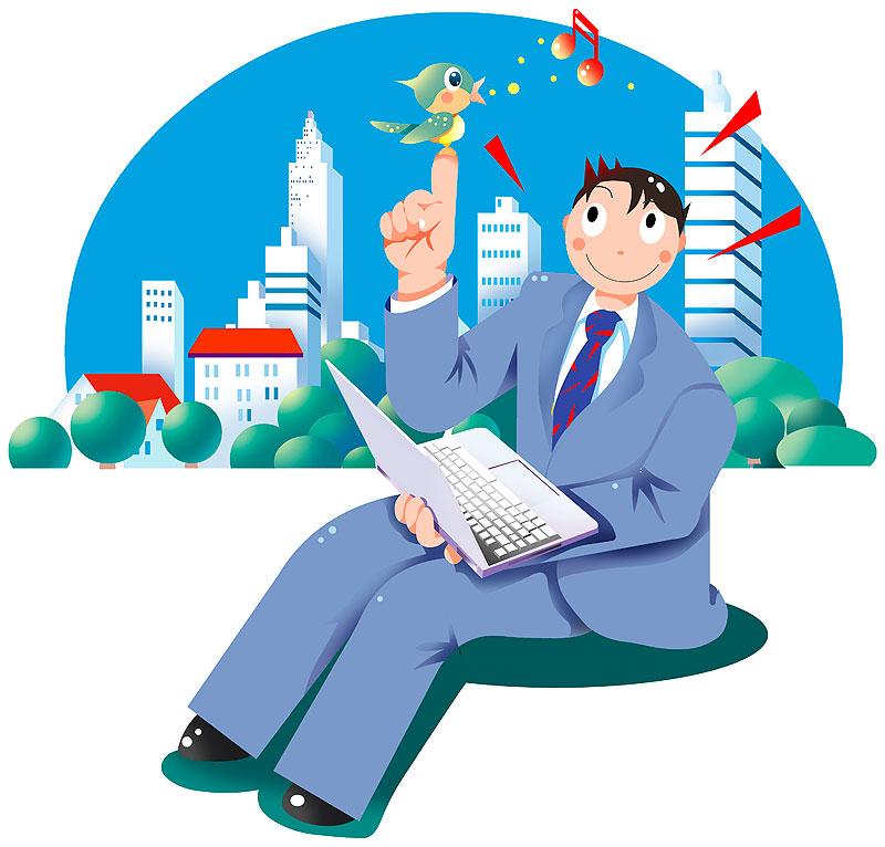 イラスト 画像 素材 ビジネス 仕事 会社 ノートパソコン 男性 会社員 サラリーマン ビジネス街 オフィス 鳥 スーツ