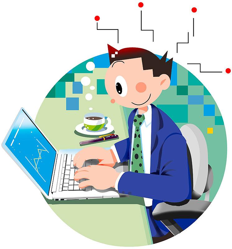 イラスト 画像 素材 会社 ビジネス 仕事 会社員 サラリーマン 男性 パソコン デスク スーツ姿 プレゼン ノートパソコン