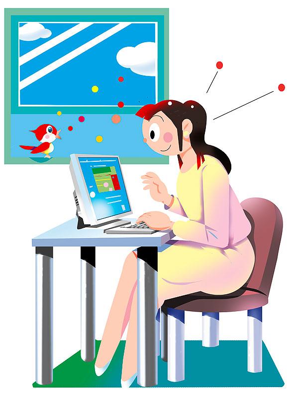 イラスト 画像 素材 女性 パソコン インターネット 仕事 ビジネス オフィス 自宅 在宅ワーク 窓 デスク 入力 職業 転職 求職 OL