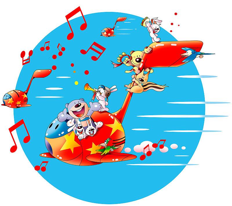 イラスト 画像 素材 動物 空 音符 音楽 楽器 演奏 飛行機 空 熊 ウサギ リス 鳥 犬 楽しい 賑やか ポップ