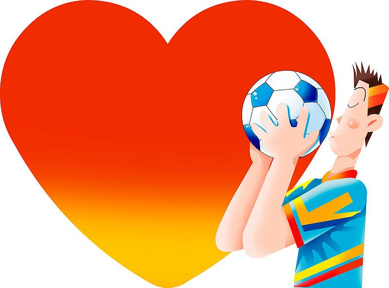 イラスト 画像 素材 サッカー ハート 男性 選手 サッカーボール 愛 キス スポーツ 平和