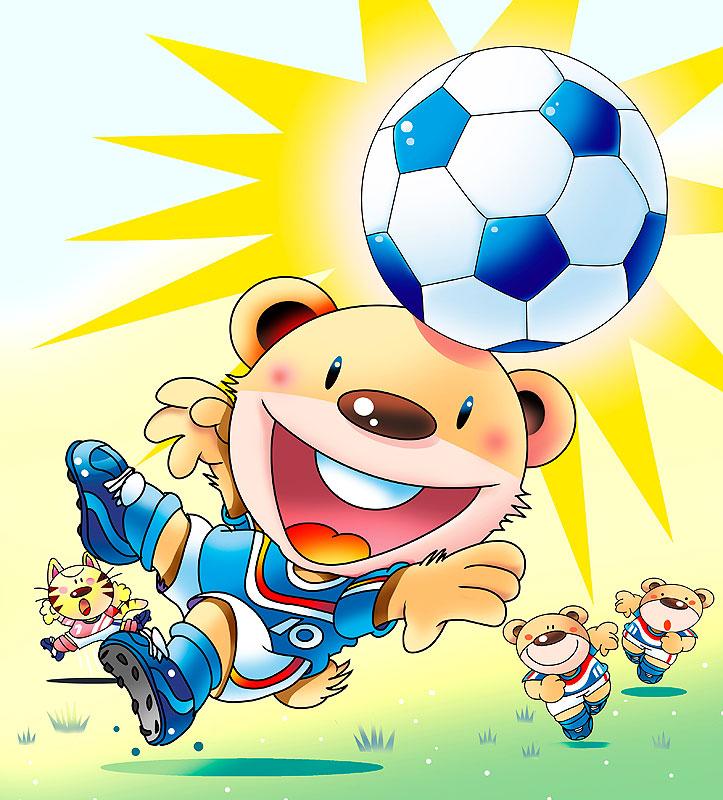 イラスト 画像 素材 サッカー サッカーボール 動物 熊 猫 ヘディング シュート ユニフォーム スポーツ 運動会
