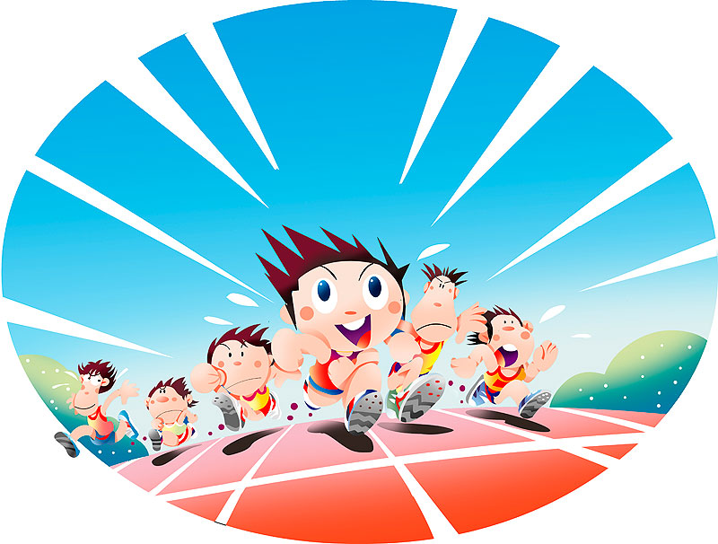 イラスト 画像 素材 スポーツ 運動会 体育祭 陸上 競技 種目 短距離走 トラック コース ゴール 優勝 選手 男子