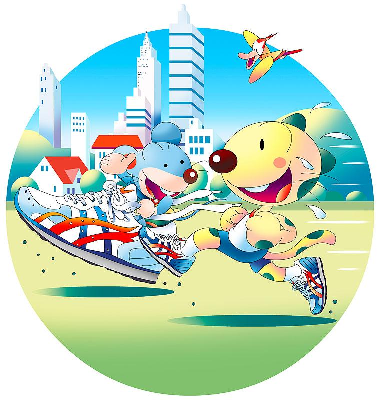 イラスト 画像 素材 動物 チーター ねずみ 鳥 ランニング ジョギング シューズ 公園 街並み コース 健康 日課 習慣 トレーニング