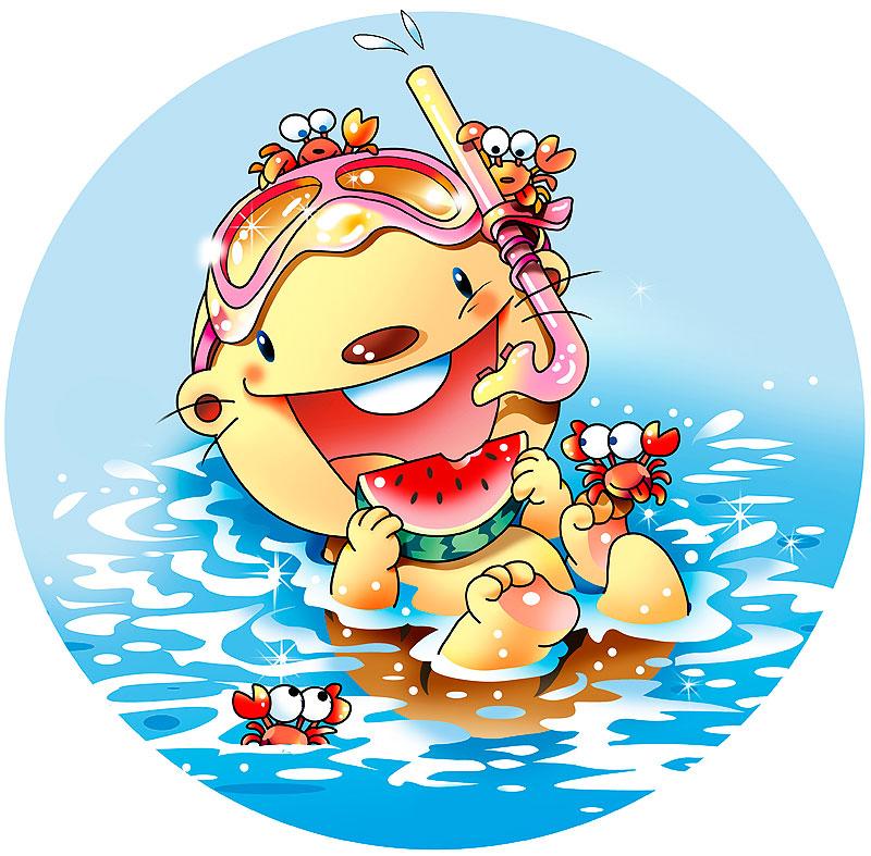 イラスト 画像 素材 動物 ラッコ カニ 海 海水浴 レジャー 夏 夏休み 水族館 スイカ シュノーケル 楽しい