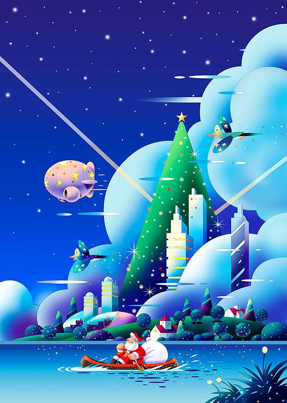 イラスト 画像 素材 サンタクロース クリスマス クリスマスツリー 川 プレゼント カヌー 飛行船 街並み 夜景 摩天楼