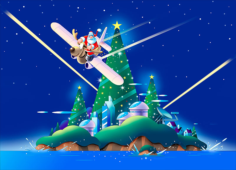 イラスト 画像 素材 クリスマス クリスマスツリー サンタクロース トナカイ 島 街並み 聖夜 星空 12月 飛行機