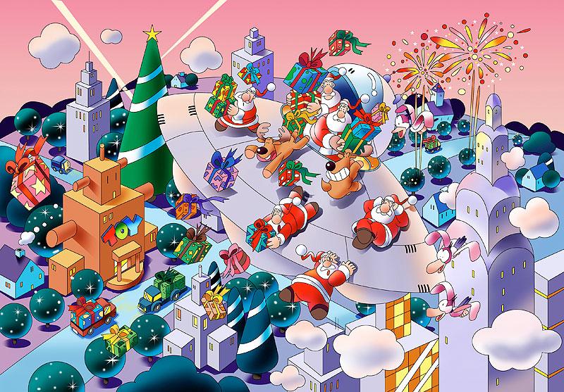 イラスト 画像 素材 クリスマス サンタクロース クリスマスツリー プレゼント トナカイ 街並み おもちゃ 配達 宇宙船 UFO