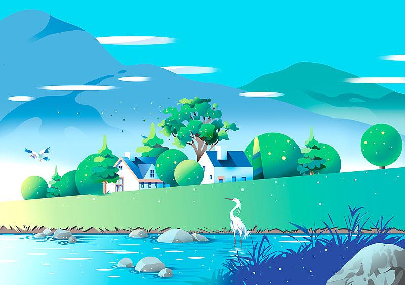 白鷺 川 風景イラスト カレンダーイラスト