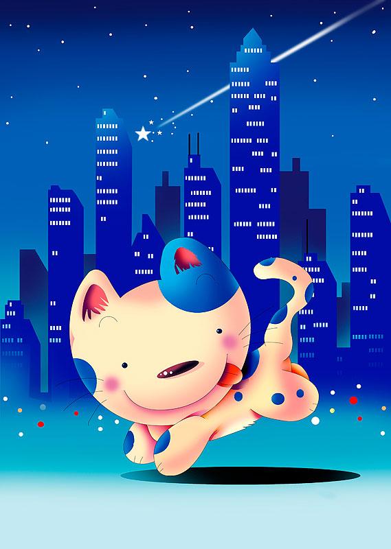 イラスト 画像 素材 ネコ 動物 キャラクター 夜景 摩天楼 ビル 流れ星 街並み