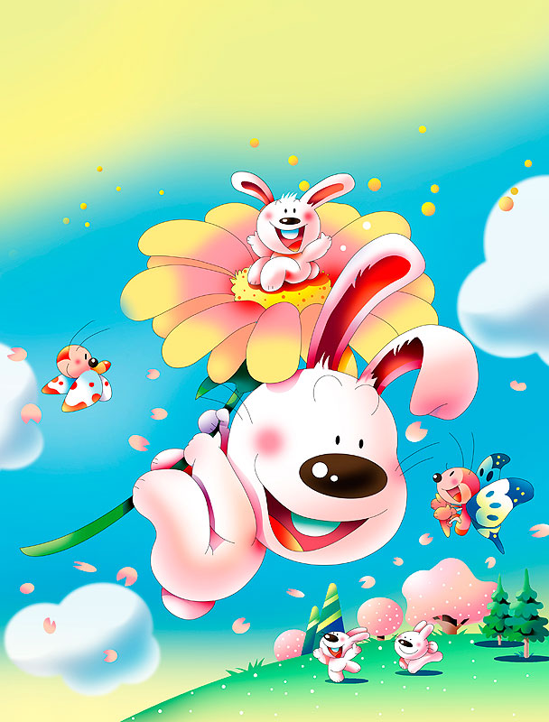 イラスト 画像 素材 ウサギ 花 チョウチョ 動物 桜 春 丘 雲 青空 キャラクター 飛ぶ 花びら