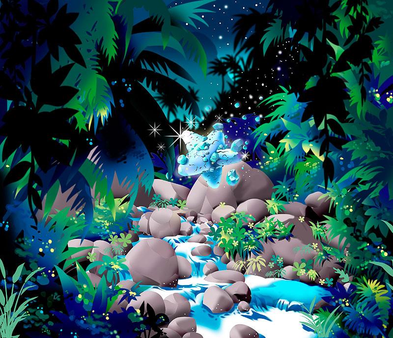 イラスト 画像 素材 ジャングル 星 隕石 川 源流 流れ星 神秘 森 密林 自然
