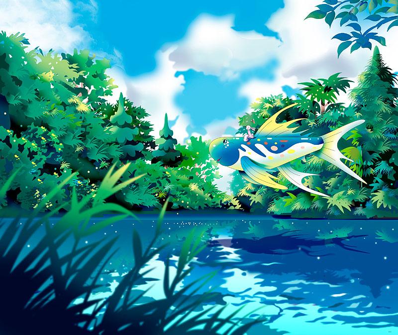 イラスト 画像 素材 メルヘン ファンタジー 魚 動物 生物 ウサギ 森 湖 空 水辺 湖畔 風景