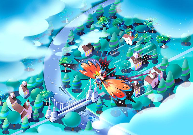 イラスト 画像 素材 チョウチョ ウサギ 動物 昆虫 生物 街並み 飛行 川 端 家並み 雲 俯瞰 鳥瞰 見下ろす メルヘン ファンタジー